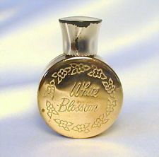 WHITE BLOSSOM Vintage BRASS GOLD METAL Mini Perfume Bottle Parfum Miniature