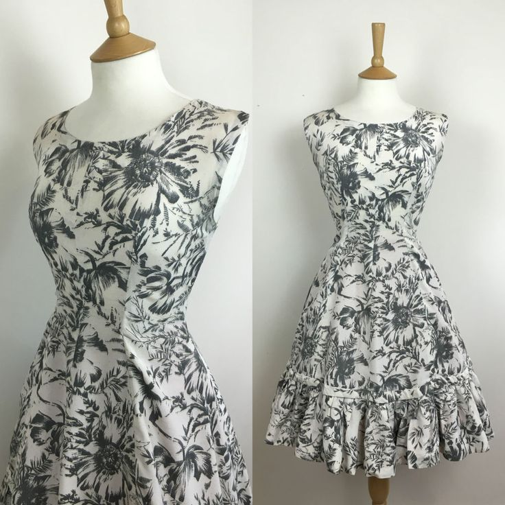 lovely grey floral 1950s swing dress size UK 8