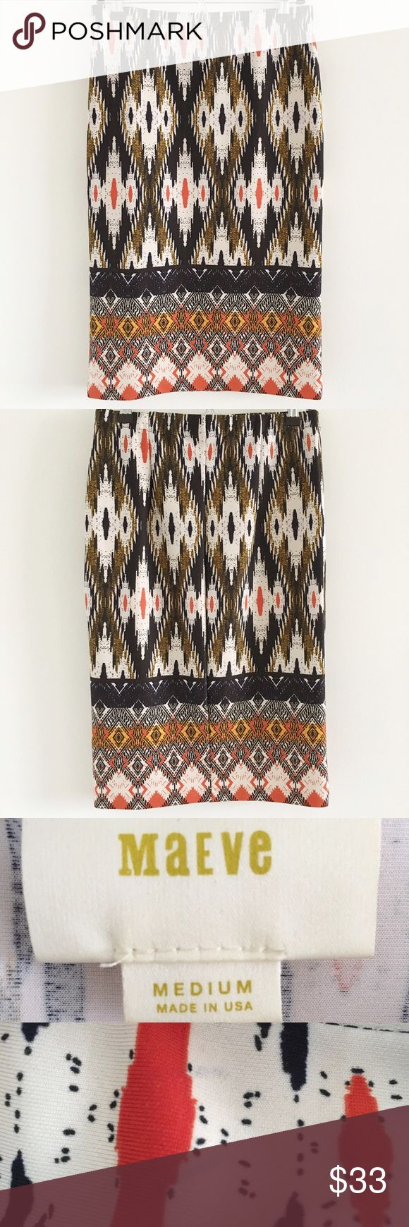 """Anthropologie Maeve Stretch Pencil Skirt A stretchy, tribal print skirt that makes for the perfect statement piece 💕  Stats (laying flat): Length: approx. 25"""" 
