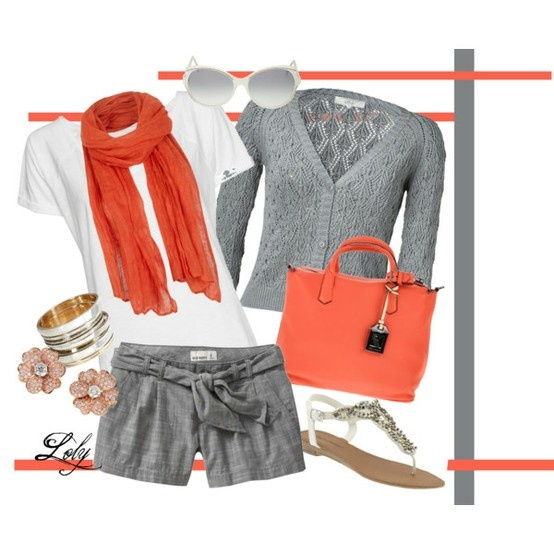 coral and grey #: Complete Outfits, Color Combos, Bright Color, Assembly Outfits, Gray Sweater, Grey, White Top, Scarf Handbag, Color Combination