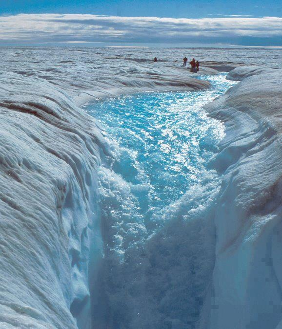 awesome!  Waterfall between 2 glaciers.