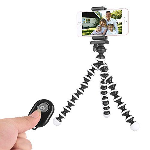 Tripod for IPhone - Camera Tripod - Mobile Phone Tripod Compatible with Any Smartphone Cell Phone Support Remote Control Flexible Tripod Stand(Black White) - http://topcellulardeals.com/?product=tripod-for-iphone-camera-tripod-mobile-phone-tripod-compatible-with-any-smartphone-cell-phone-support-remote-control-flexible-tripod-standblack-white