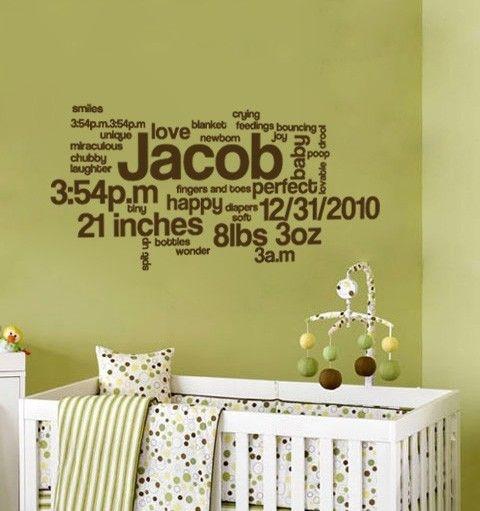 Cuarto de bebé con la descripción de su nacimiento, medidas y todo lo que se te ocurra con viníles.