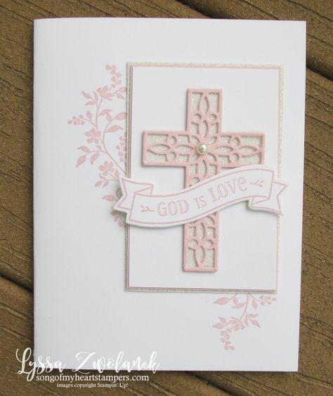 Hold Onto Hope Christian scripture bible verse cross diecut Stampin Up pink girl Lyssa rubber stamps