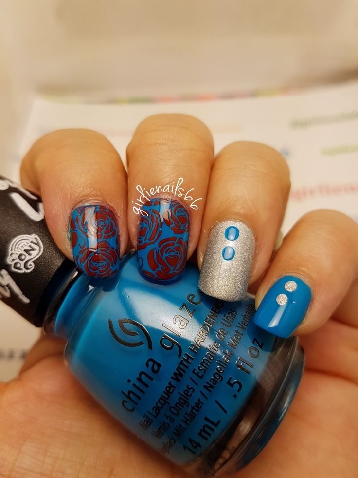 Roses Blue and Silver nails