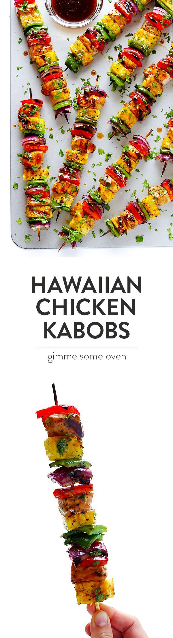 These Rainbow Hawaiian Chicken Kabobs are marinated and basted in a tasty teriyaki sauce, then grilled to perfection and sprinkled with cilantro. So delicious! | http://gimmesomeoven.com