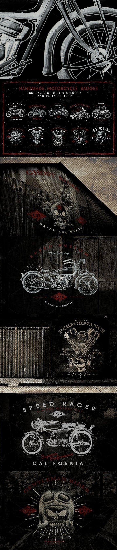 HandDraw Vintage Motorrad Abzeichen   – Logos design