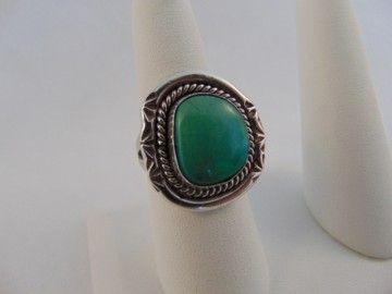 Supermooie grote Navajo zilver en turquoise ring Maat 20