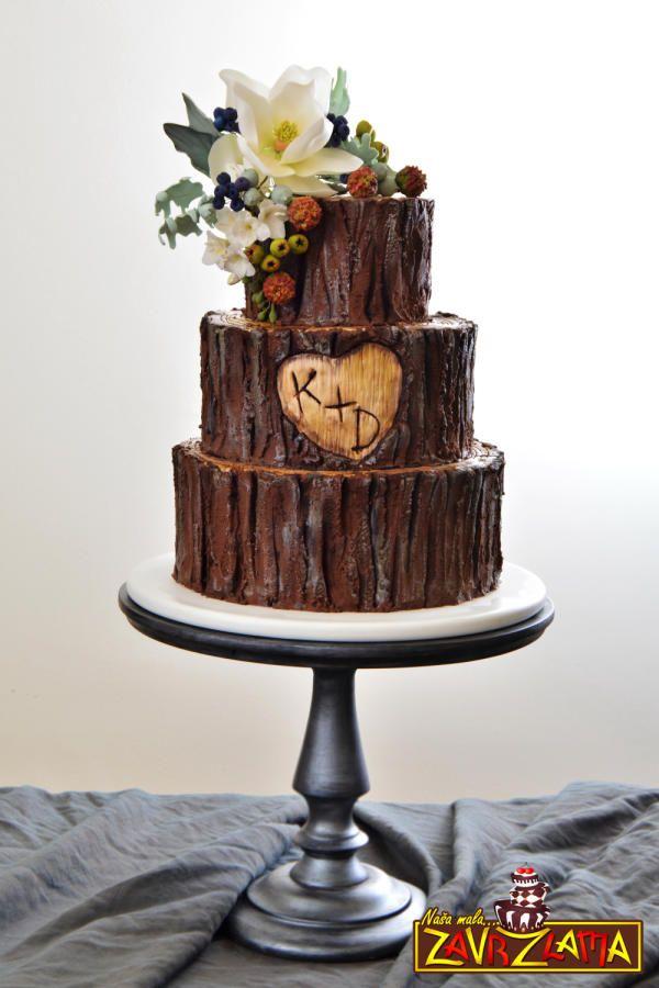 Rustic Tree Wedding Cake by Nasa Mala Zavrzlama - http://cakesdecor.com/cakes/212834-rustic-tree-wedding-cake