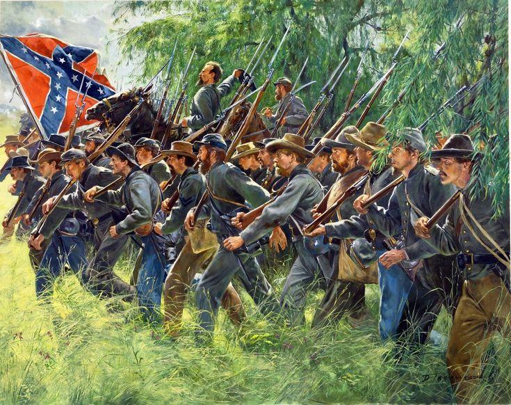 Don Troiani - Confederate General John B. Gordon at Gettysburg, July 1, 1863, passing thru the Willow trees along Rock Creek.