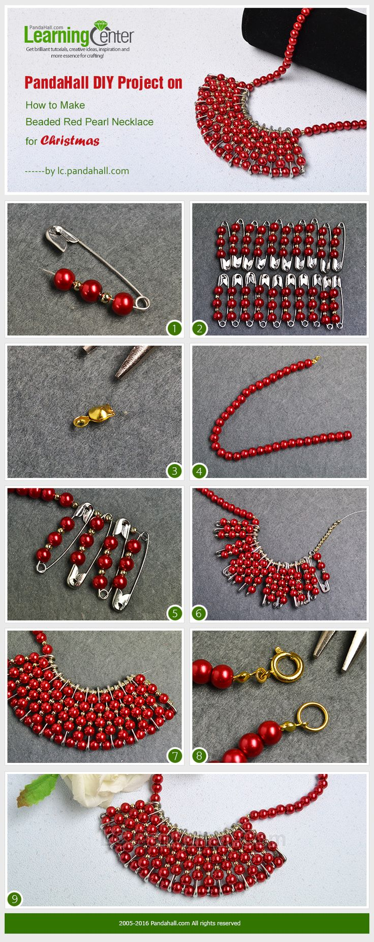 PandaHall DIY Project on How to Make Beaded Red Pearl Necklace for Christmas from LC.Pandahall.com