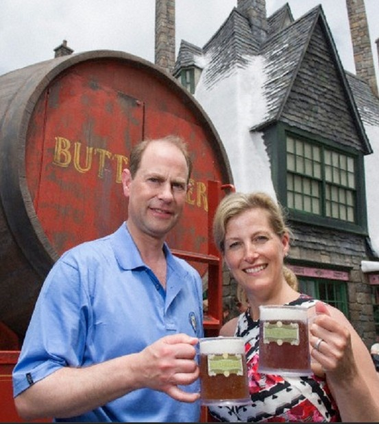 The Earl and Countess of Wessex took time out of their royal duties to enjoy a refreshing Butterbeer at The Wizarding World of Harry Potter on 29 May 2013.
