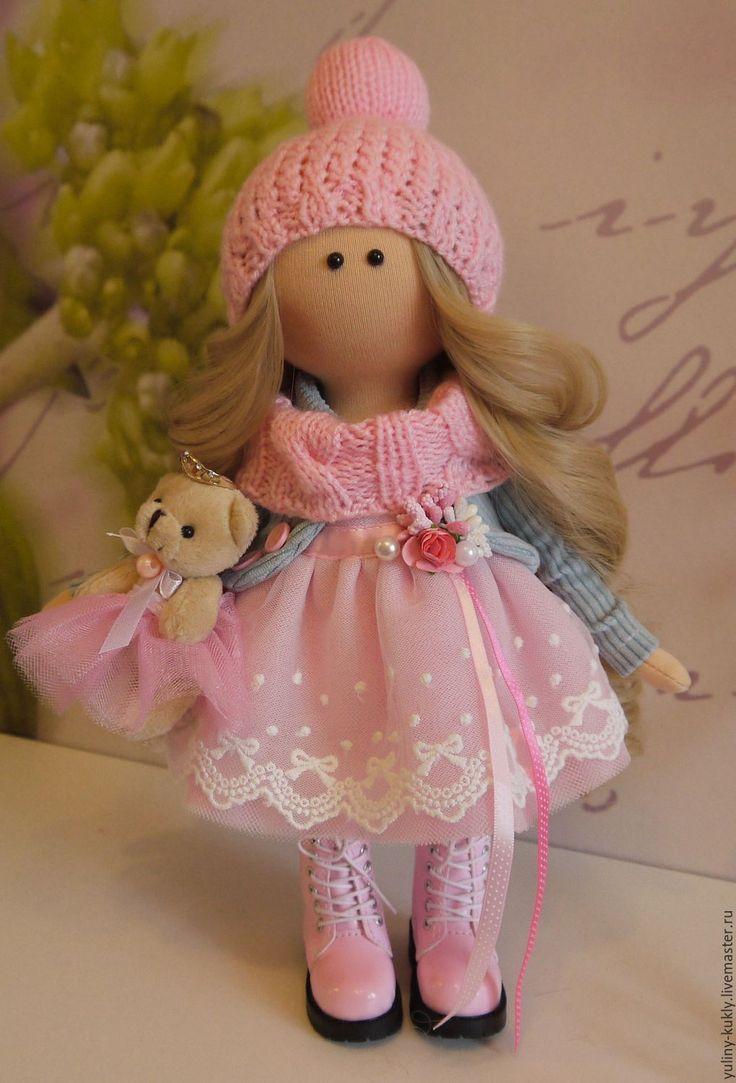 Купить Текстильная куколка-малышка Милочка - бледно-розовый, кукла текстильная, кукла ручной работы