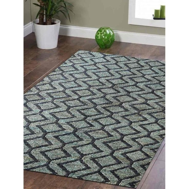 Transitional Geometric Hand Knotted Sumak Jute Eco-friendly Carpet Indian Oriental Area Rug (6′ x 9′ – Green/Charcoal)