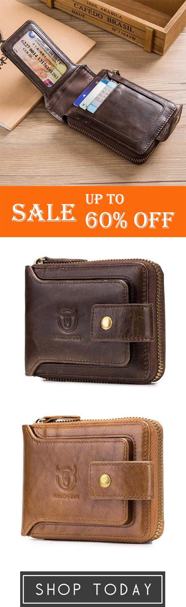 Vintage Genuine Leather 11 Card Slots Coin Bag Zipper Wallet