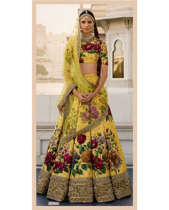 8da4c2c151 Yellow Floral Printed Lehenga With Heavy Border | Lehenga ❤ in ...