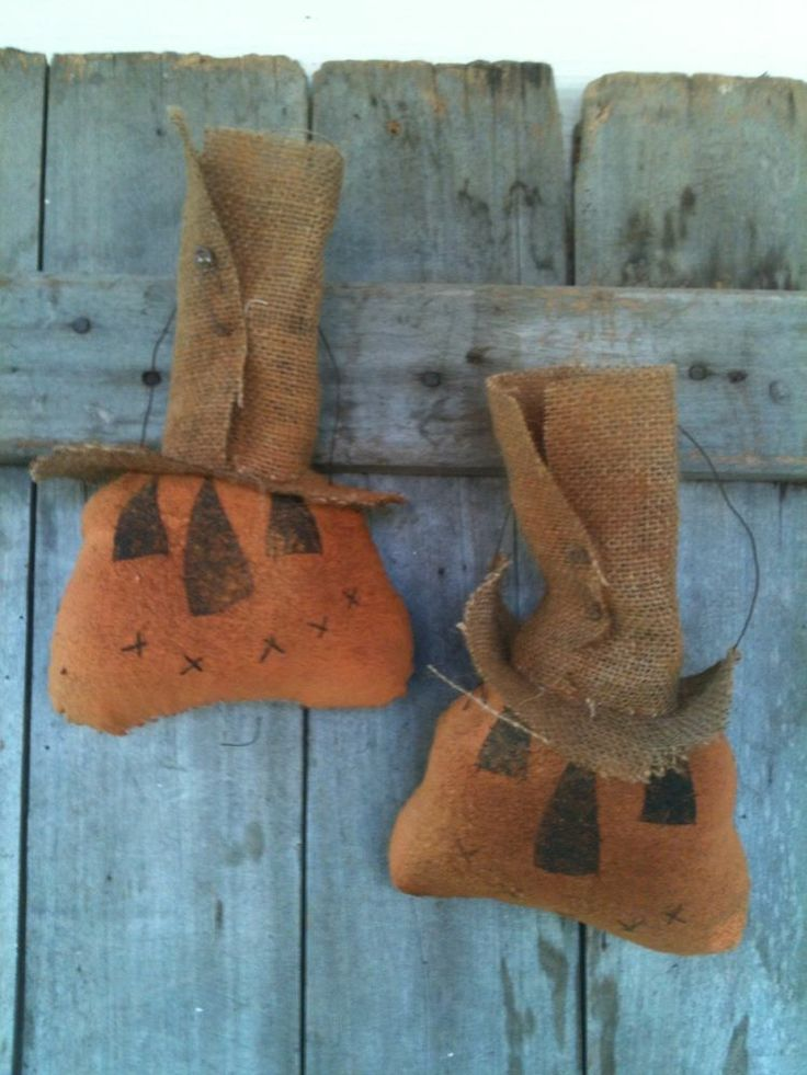 Extreme Prim Fall Grungy Pumpkin Primitive Folk Art ornies ornaments wired  #NaivePrimitive