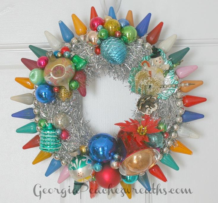 image of vintage christmas light bulb wreath unique diameter - Vintage Christmas Light Bulbs