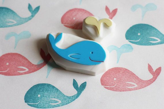 baby whale stamp. marine animal hand carved rubber by talktothesun