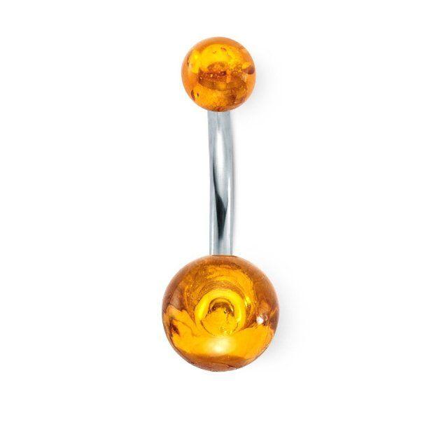 Bauchpiercing Edelstahl Bernstein 23 mm, Durchmesser grosse Kugel: 7.5 mm, Durchmesser kleine Kugel: 4.5 mm, Durchmesser Stift: 1.6 mm, Läng...