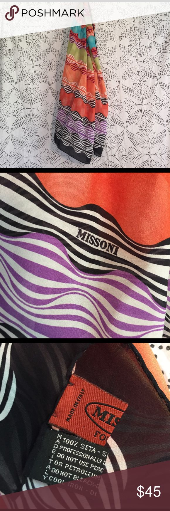 SILK Missoni scarf Fun funky 💯 % SILK missoni scarf Missoni Accessories Scarves & Wraps