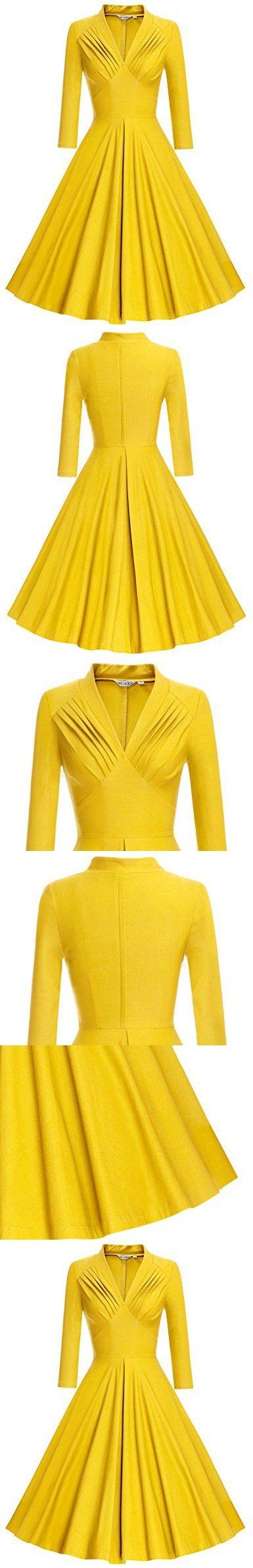 MUXXN Women's Vintage 3/4 Sleeve Knee Length Cocktail Swing Dress ( S Yellow)
