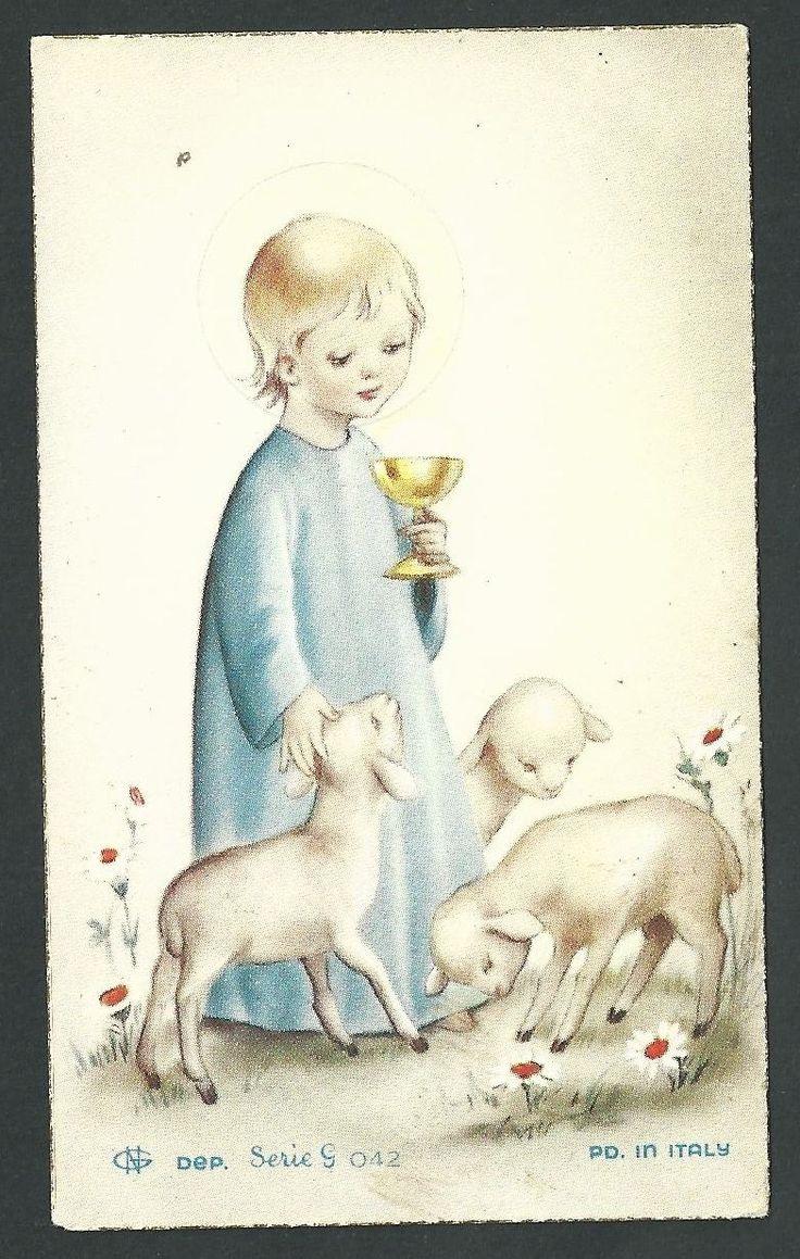 Estampa antigua del Buen Pastor andachtsbild santino holy card santini   eBay