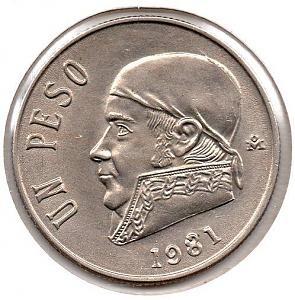 Antigua moneda Mexicana, de un Peso