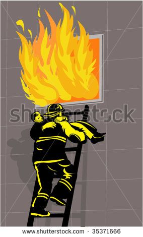 Firefighter saving or rescuing a boy from a burning building climbing down ladder #rescue #woodcut #illustration
