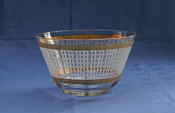 Starlyte Punch Bowl  MidCentury  Gold Leaf  by JingleBeanFarm