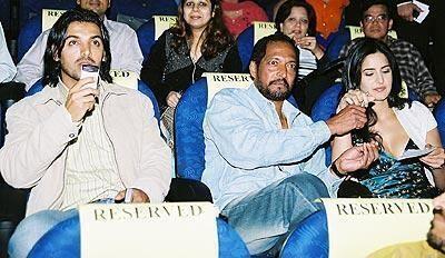 John, Nana Patekar and Katrina enjoying a show. How many movies have Nana and Katrina done together?
