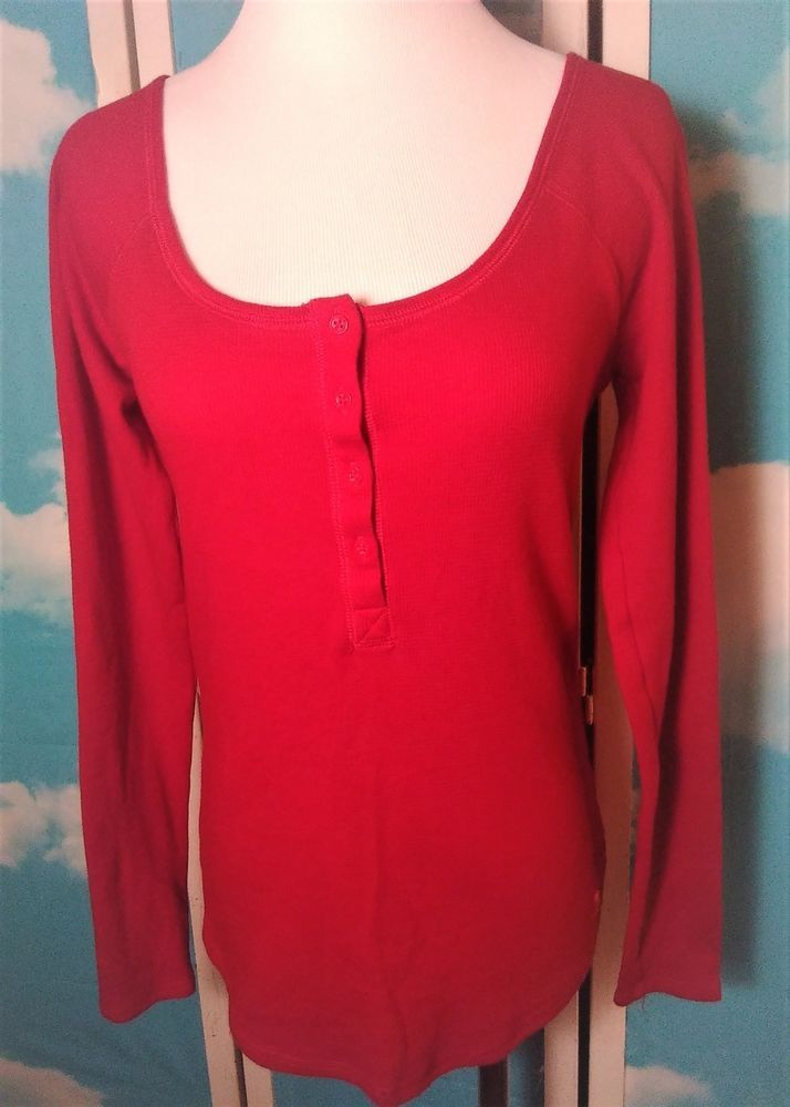 PINK Victoria's Secret Pullover Red Waffle Shirt Black Sequined LOVE PINK Size L #PINKVictoriasSecret #KnitTop #Casual