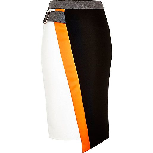 Black color block D-ring pencil skirt