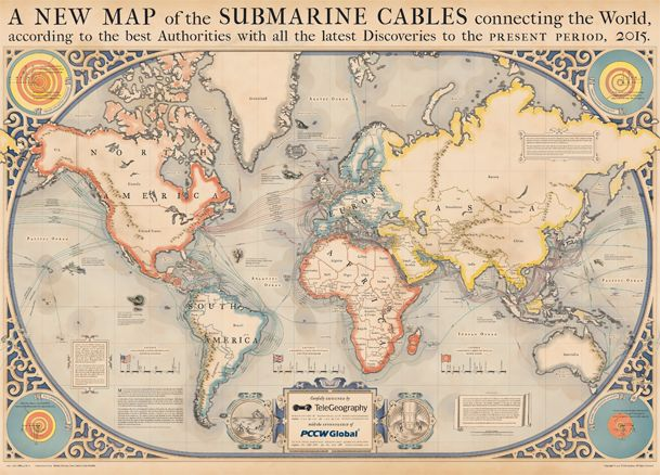 Age of Discovery-style map of modern submarine cables - Boing Boing