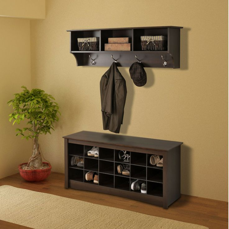 Really want this for our front door area.    Prepac 48 Espresso Shoe Storage Cubbie Bench and Entryway Shelf - Beyond the Rack