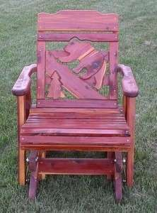 Amish Rustic Outdoor Glider Chair Cedar Wood Patio Porch Cabin