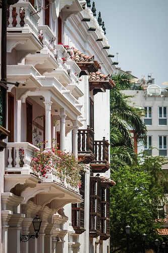 Wooden Terraces.Typical wooden terraces of the old city of Cartagena, Colombia.
