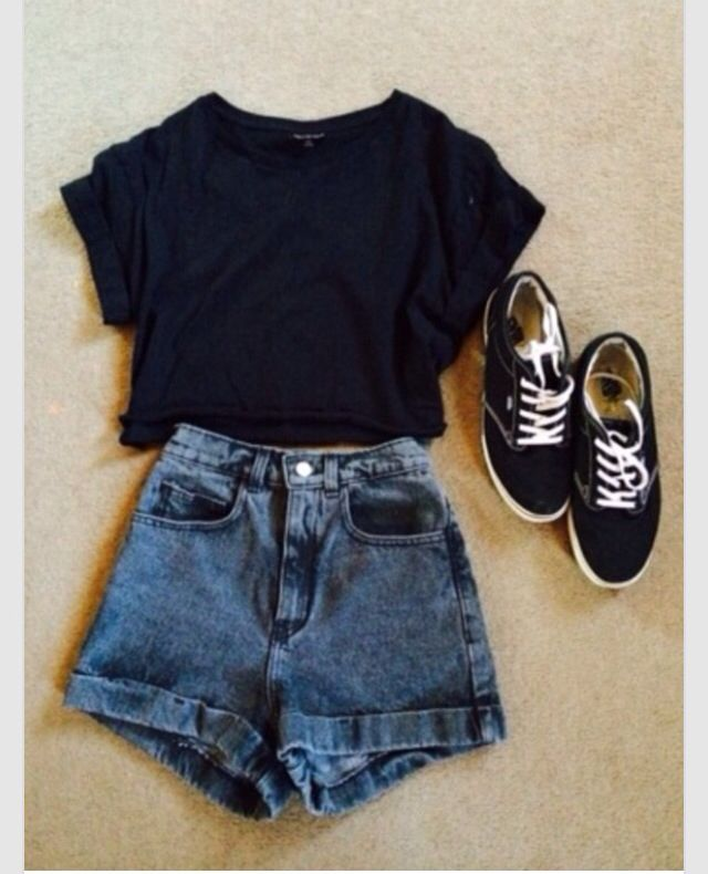 Black Crop Top And Acid Washed Shorts