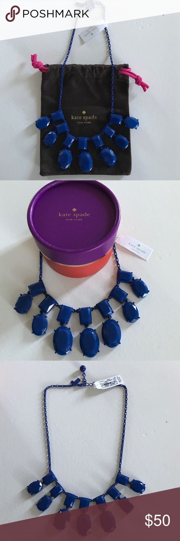 Kate Spade Navy Necklace Navy Kate Spade necklace, bag and box included kate spade Jewelry Necklaces