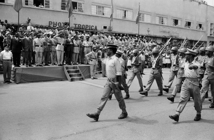 The review stand for the Congolese Army Parade in Leopoldville, in the center saluting is Colonel Joseph MOBUTU.