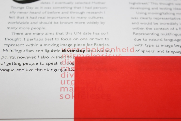 (Image is there) When testing with the lowered opacity red text, I came up with the idea of using a red tracing paper or vellum to perhaps hide the red text. This would physically involve the reader more getting them to turn the page to read the text underneath, making them think about the language that they are reading in rather than just quickly skimming through the content.