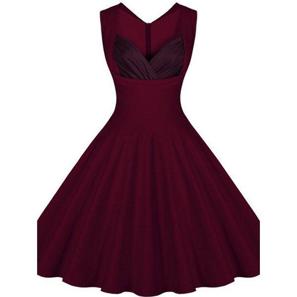 Retro Sweetheart Neck Sleeveless Spliced A-Line Women's Dress (WINE RED,2XL) in Vintage Dresses | DressLily.com