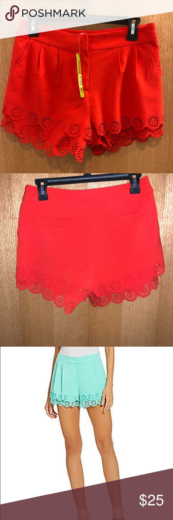 🧡 Gianni Bini Eyelet Lace Trim Shorts 🆕 Brand new with tags! Women's Gianni Bini Leighton Shorts. Women's small. Color is poppy - a dark orangish-red color. Eyelet lace trim. Classy and comfy! Last pic is same shorts in a different color. Gianni Bini Shorts