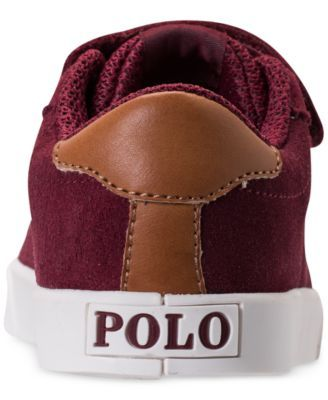 Polo Ralph Lauren Toddler Boys' Hadley Casual Sneakers from Finish Line - BURGUNDY SUEDE 10