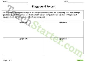 Push and Pull – Playground Forces Worksheet