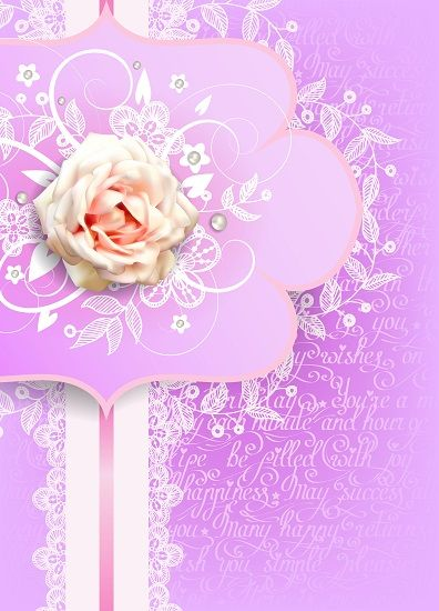 Vertical asymmetric greeting card with white rose and lilac background by Maria Rytova #rose #flower #floral #design #greeting #card