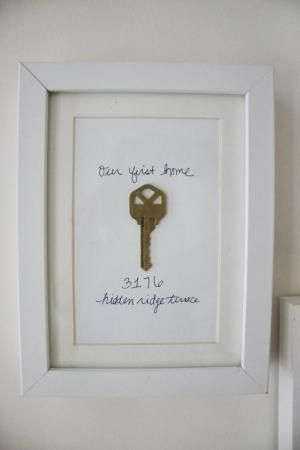 Cute idea: framed key to first house or apartment. I'm thinking of framing the key to our forever farm now that hubs is retiring from the army - our last house. by marianne