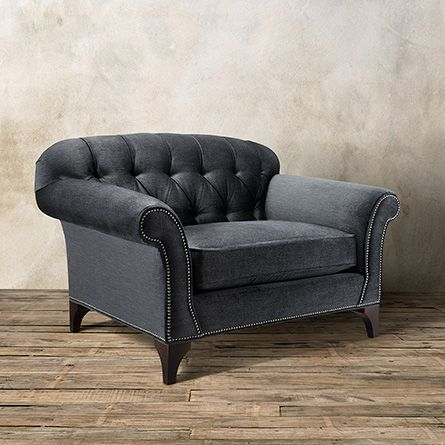 Preston Tufted Upholstered Chair In Vernon Smoke
