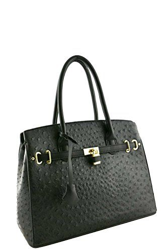 Women's Designer Faux Leather Ostrich Padlock Top Handle Bag VA2013 Black -- Continue to the product at the image link.