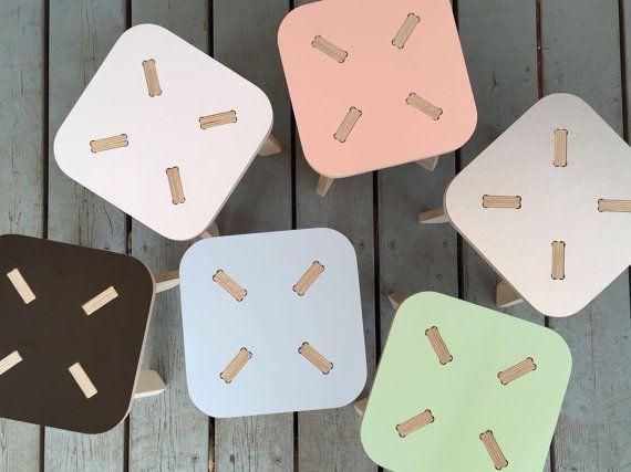 Wood stool wooden step stool kids furniture kids by PiecesDesigns
